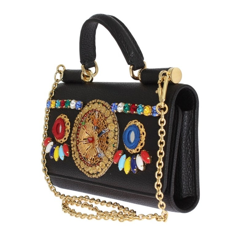 Shop Dolce   Gabbana Dolce   Gabbana Black Leather Crystal SICILY VON Bag -  One size - Free Shipping Today - Overstock.com - 24585638 0734fefca98cd