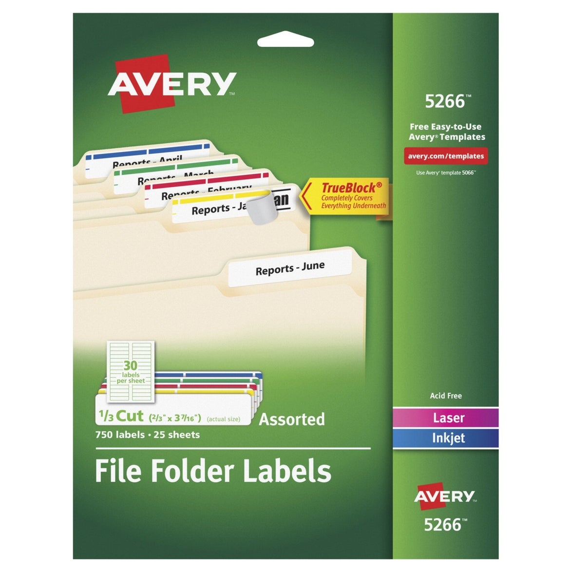 Avery 5266 13 Cut File Folder Labels Assorted Colors Pack Of 750
