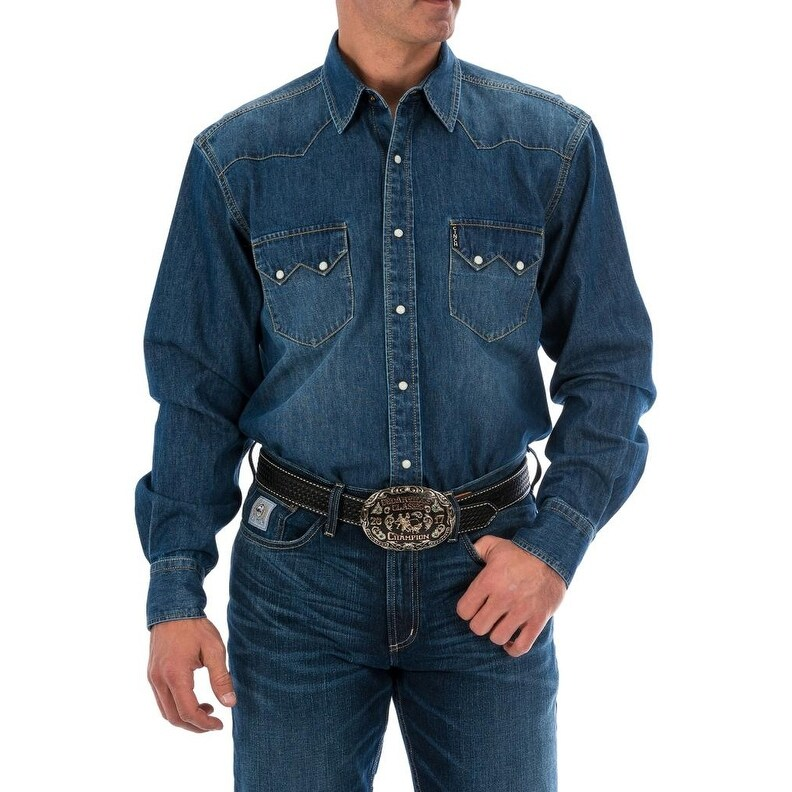 90fc339dba Shop Cinch Western Shirt Mens Long Sleeve Denim Snap Indigo - Free Shipping  Today - Overstock - 27798195