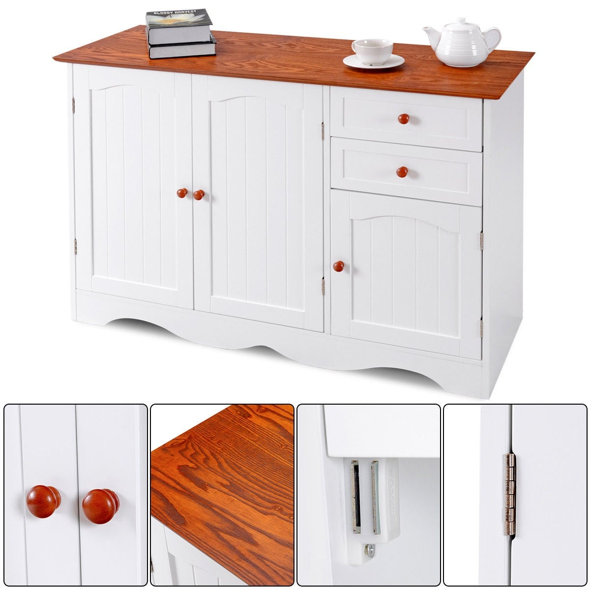 Shop Gymax Buffet Storage Cabinet Console Table Kitchen Sideboardd Home  Furni W/2 Drawers   As Pic   Free Shipping Today   Overstock.com   22704685