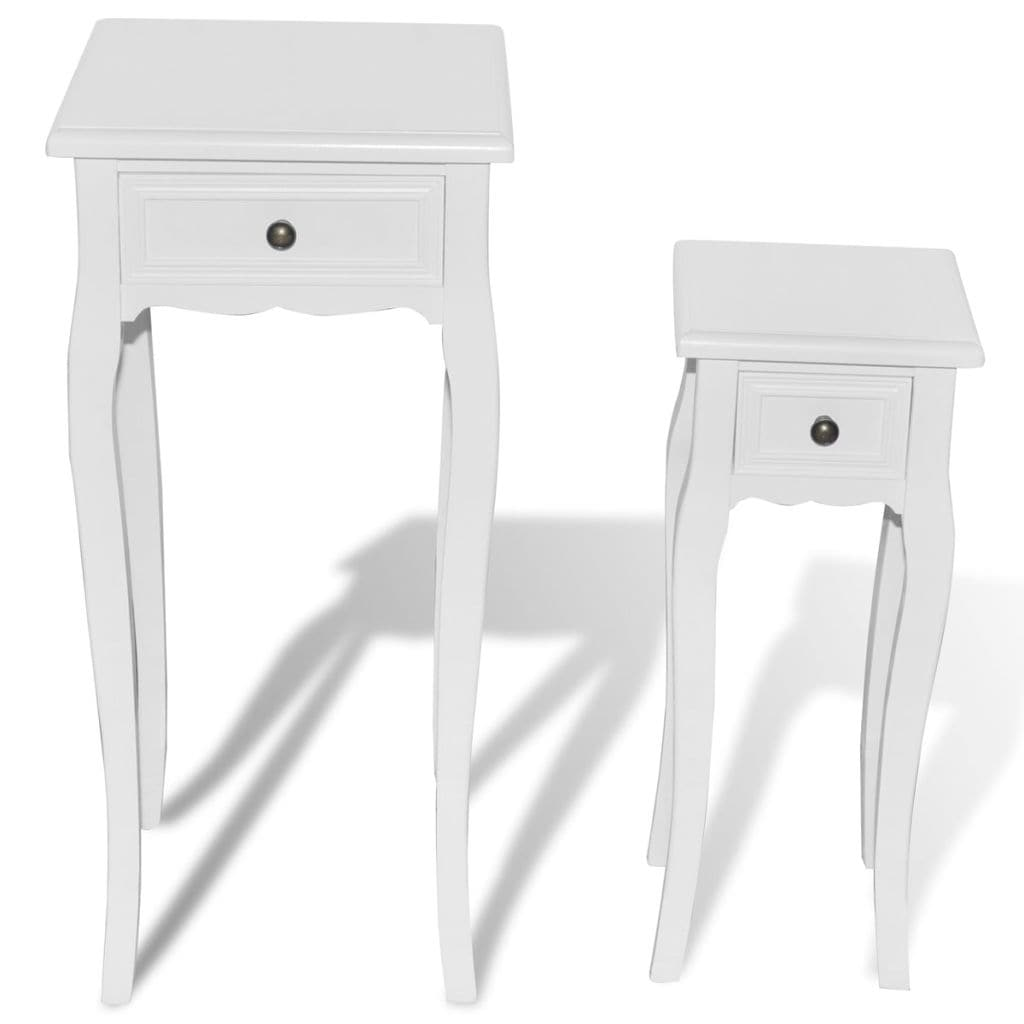 VidaXL White Telephone Side Table With Drawer 2 Pcs   Free Shipping Today    Overstock   25015435