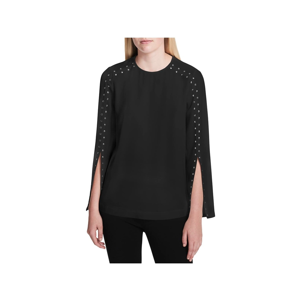 1975d315d82 Shop Calvin Klein Womens Blouse Studded Split-Sleeve - Free Shipping ...