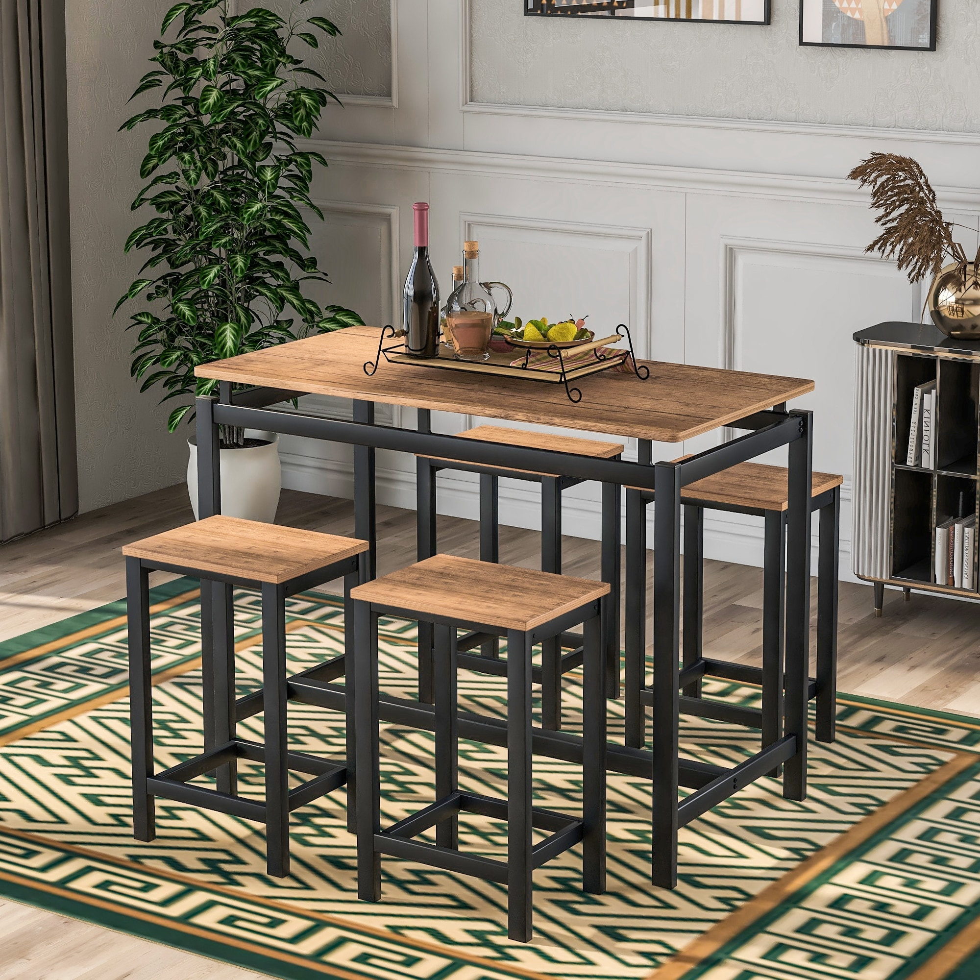 Nestfair 10-Piece Industrial Dining Table with 10 Chairs