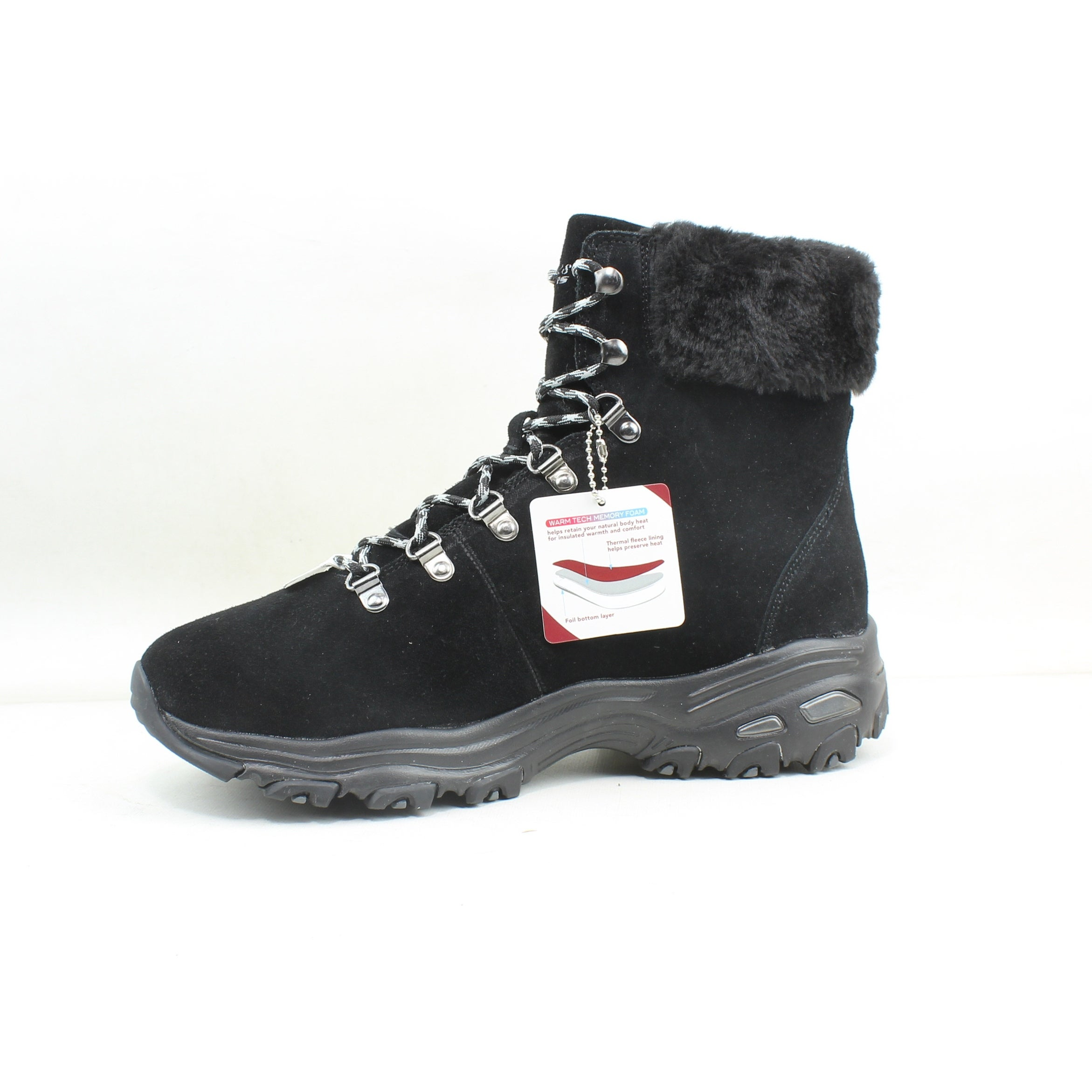 Skechers Womens D'lites Alps Black Snow Boots Size 10