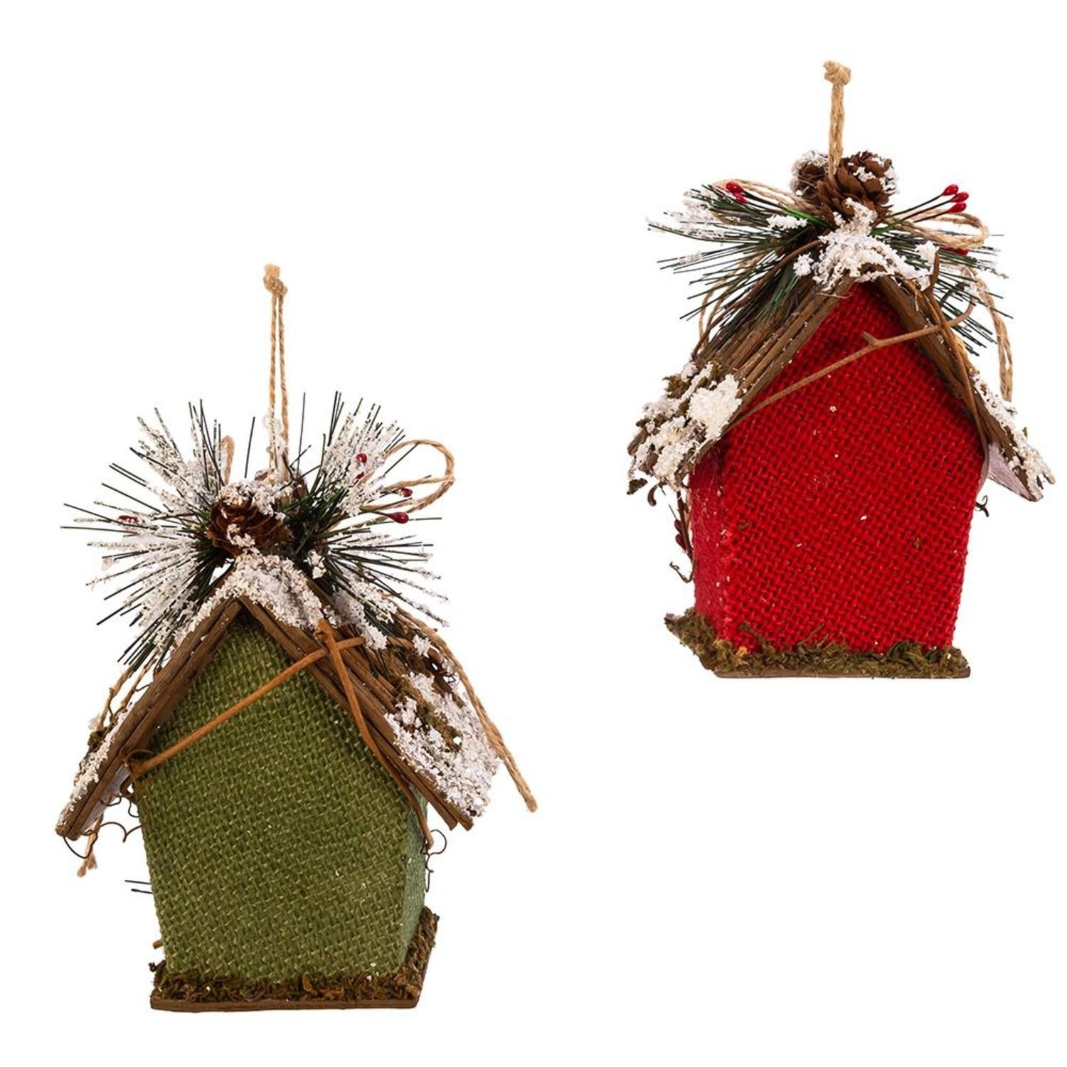 Club Pack Of 12 Red And Green Decorative Bird House