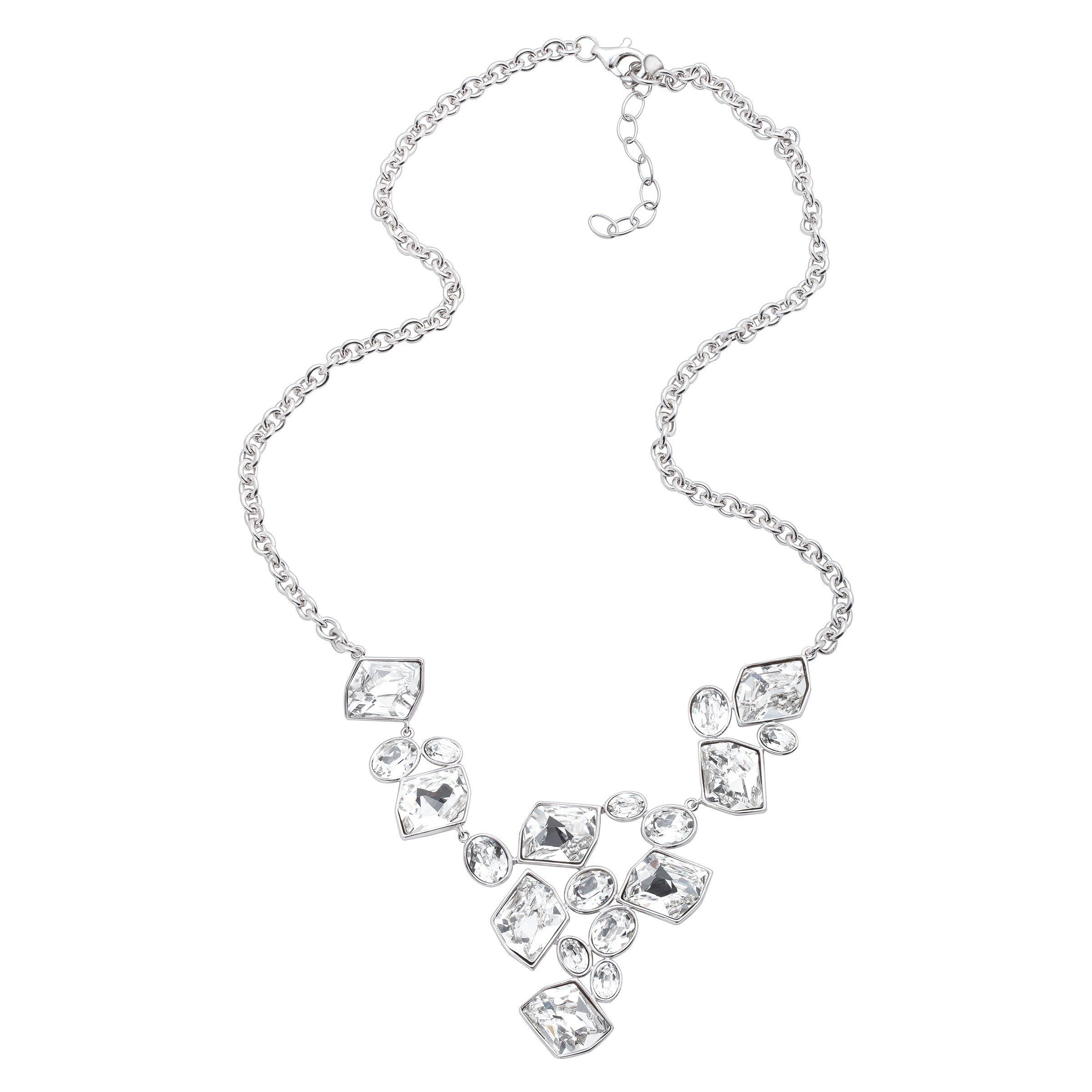 c1ade6f774017e Shop Crystaluxe V-Shape Necklace with Swarovski Crystals in Sterling Silver  - White - On Sale - Free Shipping Today - Overstock - 13884795