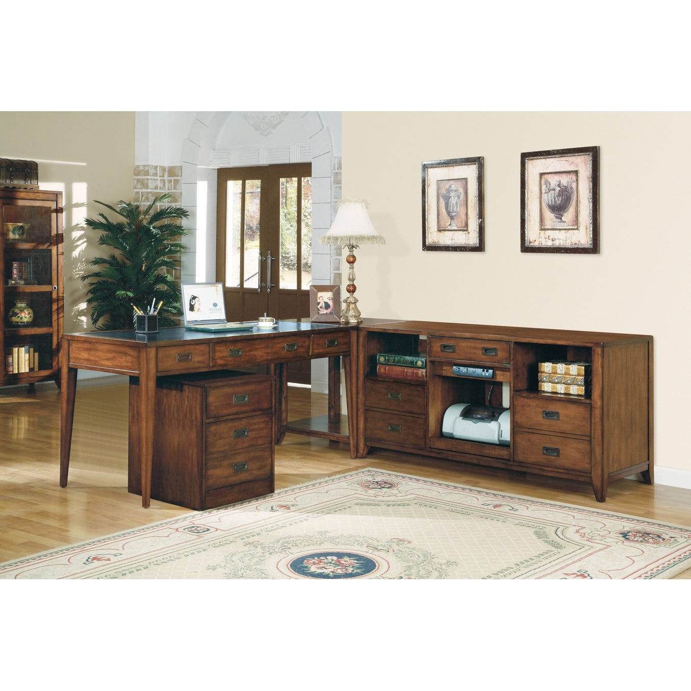 Shop hooker furniture 388 10 412 18 wood 2 drawers birch wood filing cabinet from the danforth collection rich medium brown n a free shipping today
