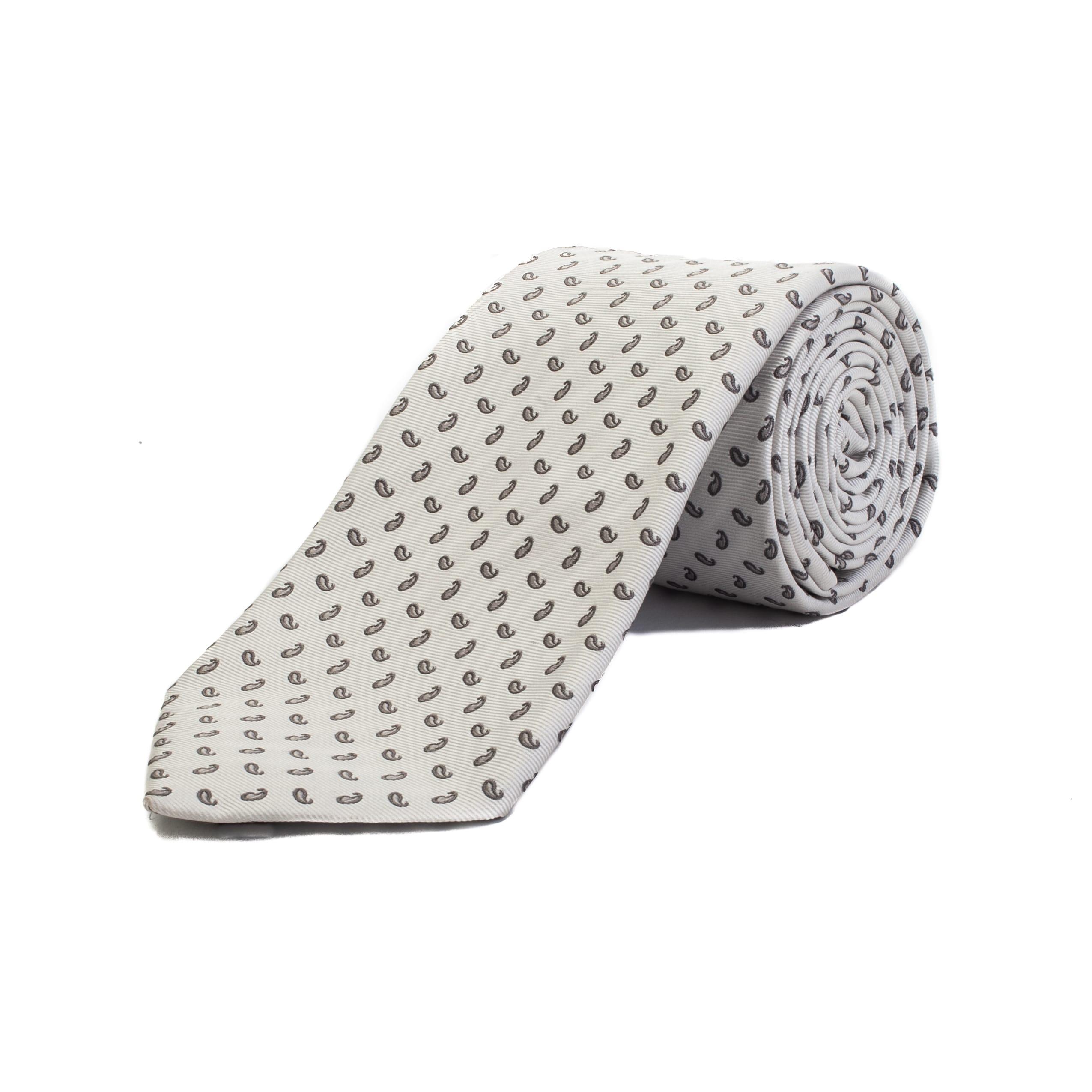 78a1fed670 Ermenegildo Zegna Men's Silk Paisley Pattern Tie White - No Size