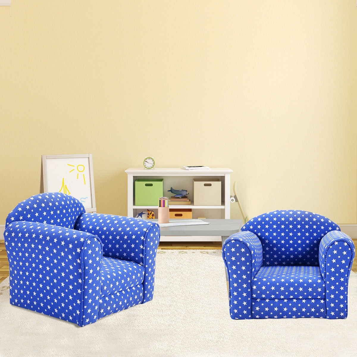 Beautiful Shop Costway Blue W/Stars Kid Sofa Armrest Chair Couch Children Living Room  Toddler Furniture   On Sale   Free Shipping Today   Overstock.com   16120465