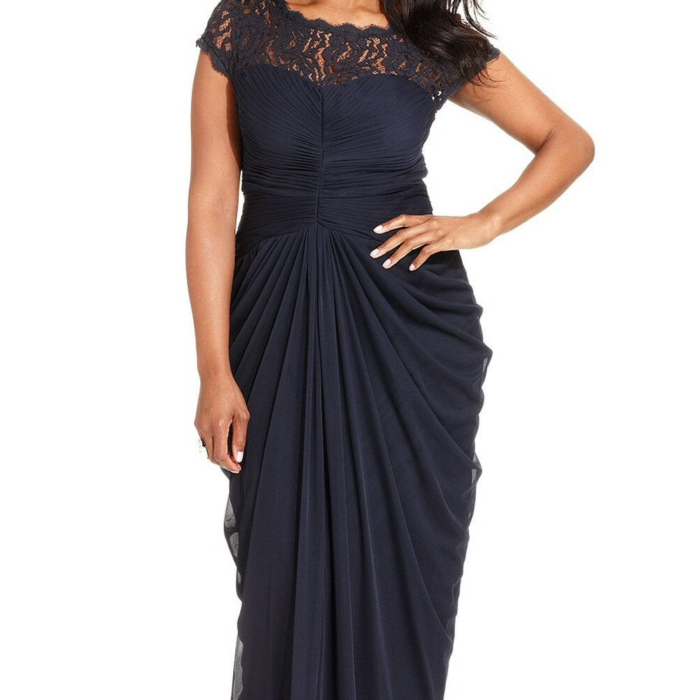 070d8d5b49a83 Shop Adrianna Papell Plus Size Illusion Lace Draped Evening Gown Dress -  Free Shipping Today - Overstock - 14822013