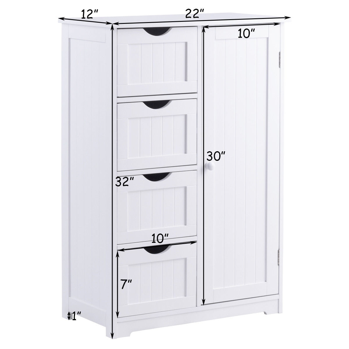 Shop Costway Wooden 4 Drawer Bathroom Cabinet Storage Cupboard 2 Shelves  Free Standing White   Free Shipping Today   Overstock.com   19817490