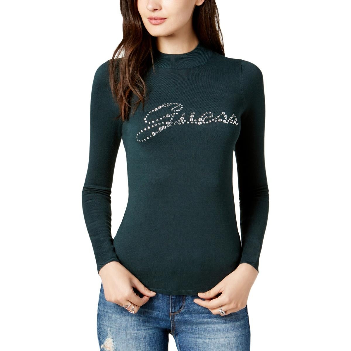f5a49f6c68f23 Shop Guess Womens Holly Mock Turtleneck Sweater Embellished Logo - Free  Shipping On Orders Over  45 - Overstock - 25577358