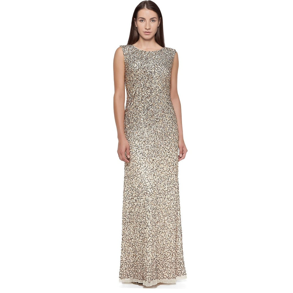 Shop Aidan Mattox Sleeveless Allover Sequined Evening Gown Dress ...