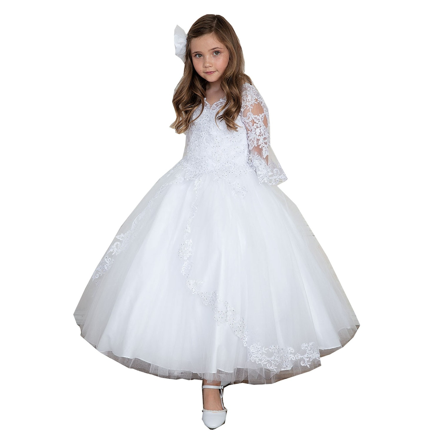 b44eadb1a Shop Calla Collection Little Girls White Embroidered Floor Length Flower  Girl Dress - Free Shipping Today - Overstock - 18606879