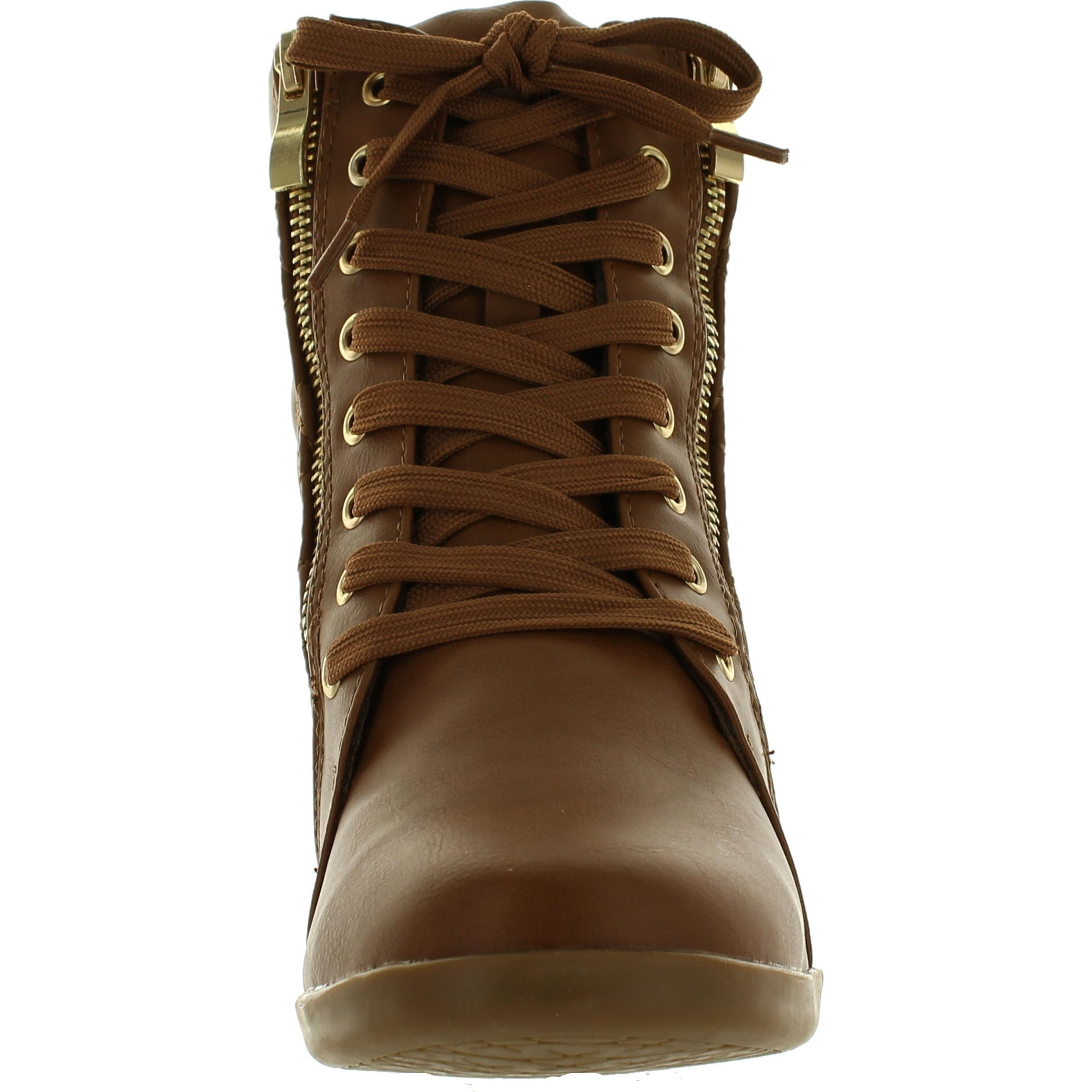 95dfc242e20 Shop Forever Link Womens Fashion Gladys-25 Leather Pu Lace Up Quilted Ankle  High Wedge Sneakers - Free Shipping On Orders Over  45 - Overstock -  14381470