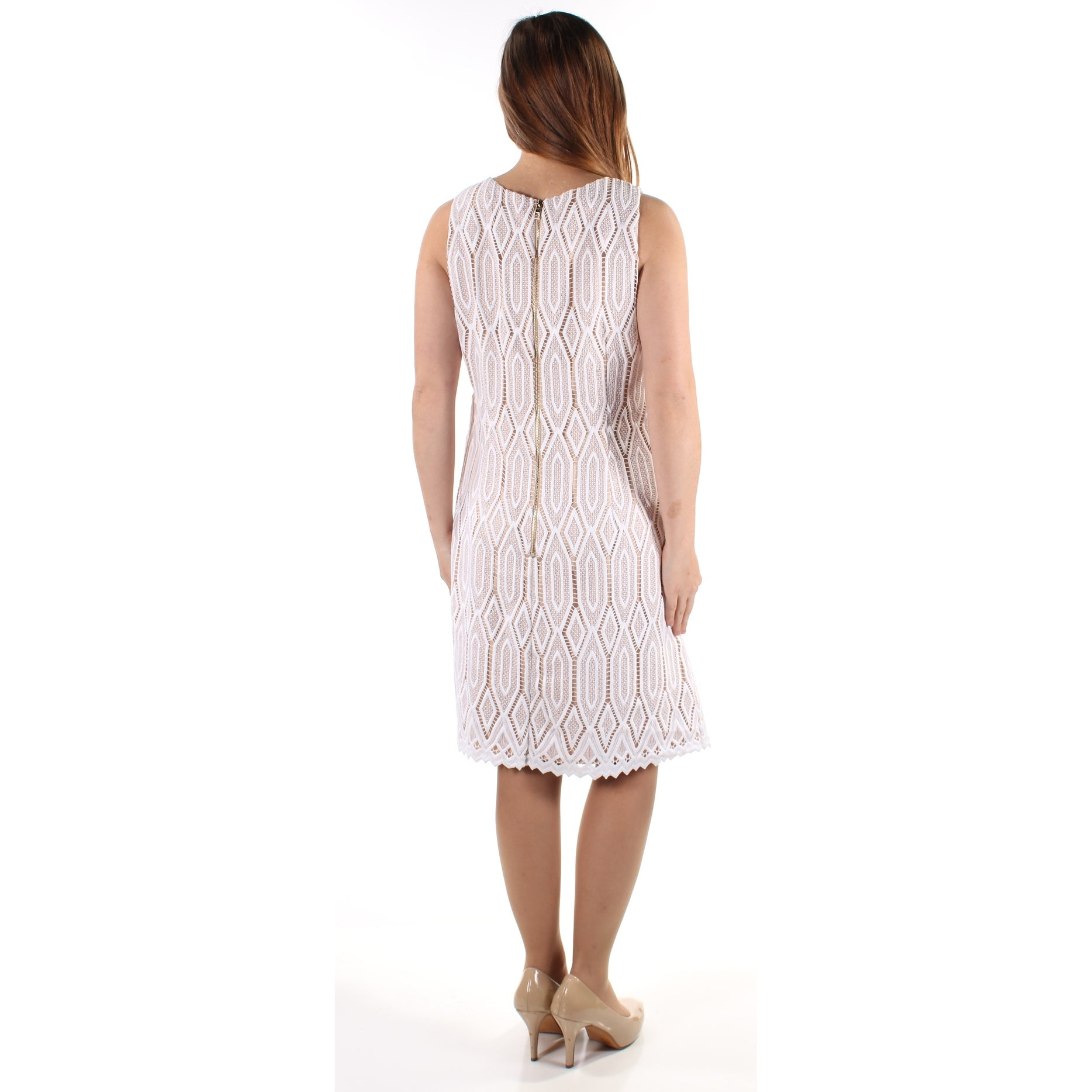 286a3e150b26 Shop VINCE CAMUTO Womens White Lace Sleeveless Jewel Neck Below The Knee  Sheath Dress Size: 14 - Free Shipping On Orders Over $45 - Overstock -  21269468