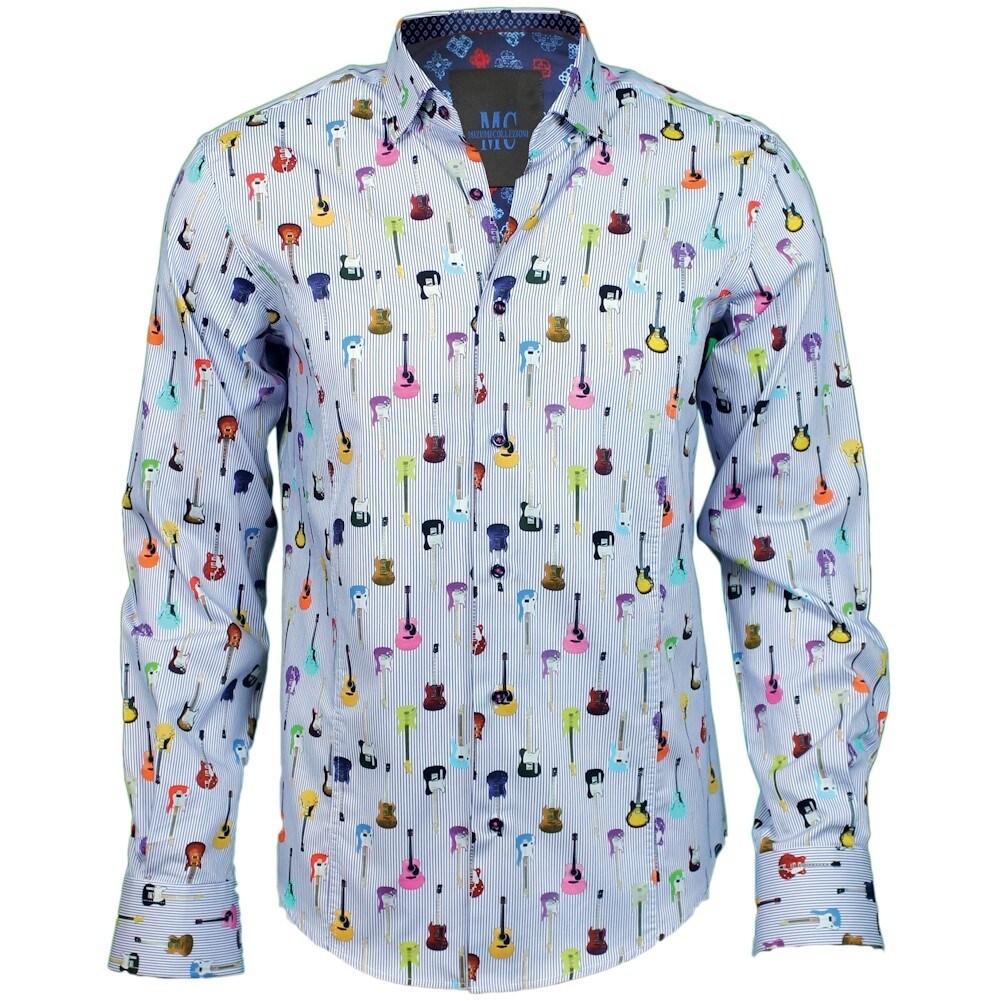 Shop Mens Guitar Print Button Down Dress Shirt Cotton Sateen