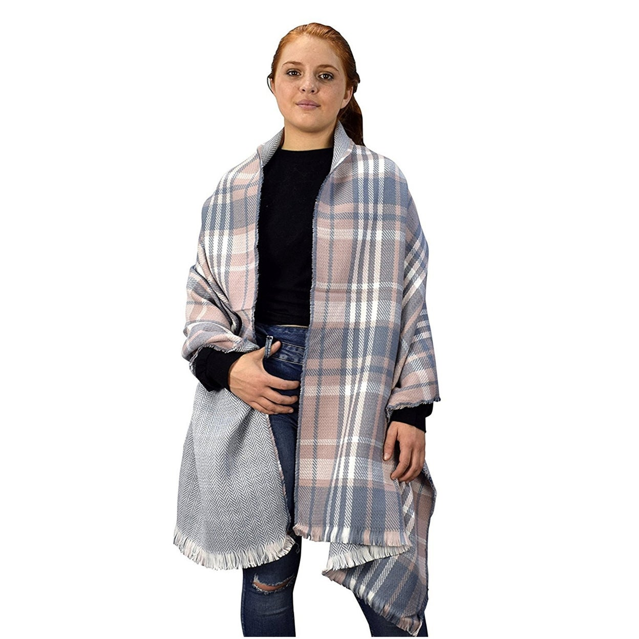 f8ff5f1ae88 Peach Couture Reversible Oversized Plaid Herringbone Blanket Scarf