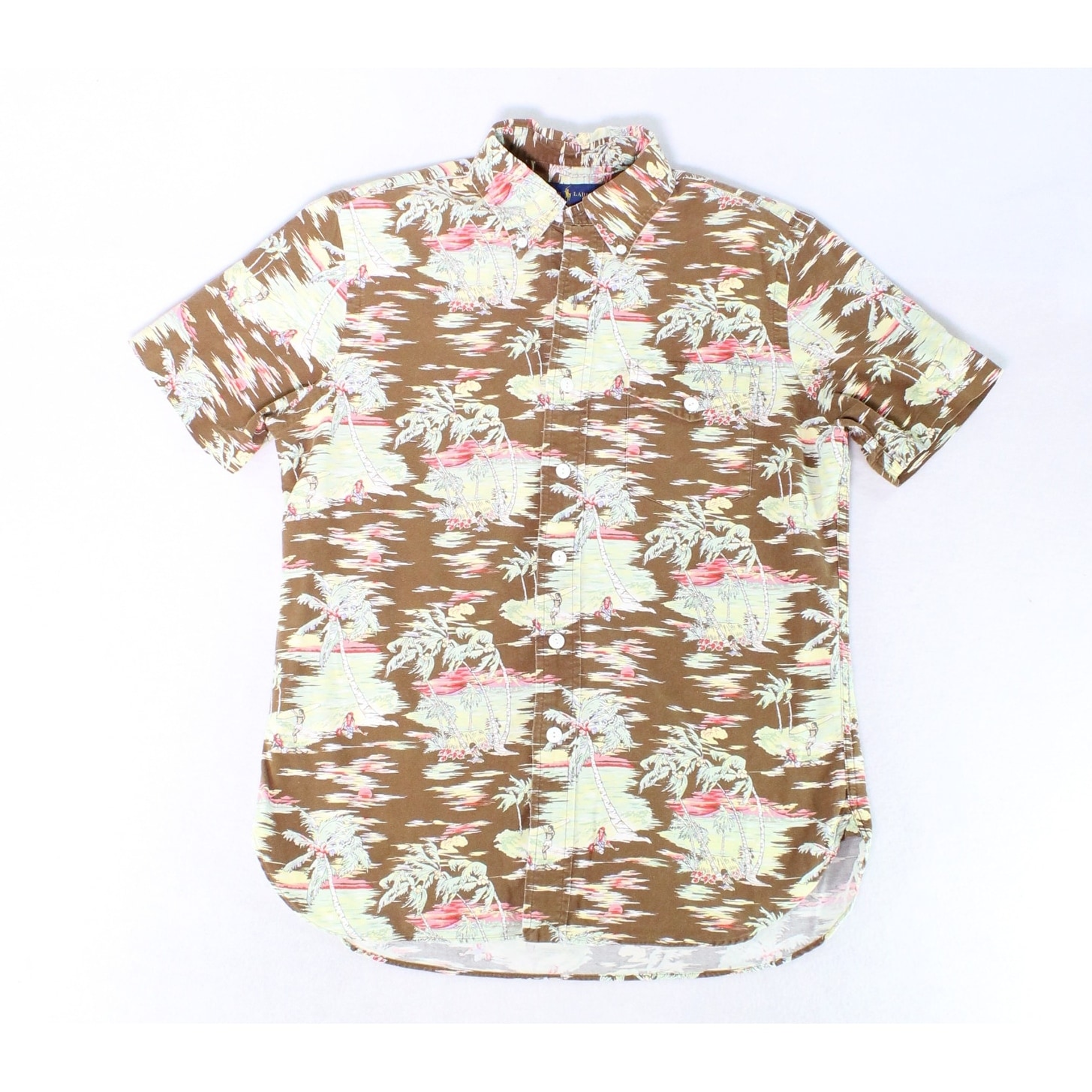 a96ddecc Shop Ralph Lauren Brown Mens Size Small S Palm Tree Button Down Shirt -  Free Shipping Today - Overstock - 28255011
