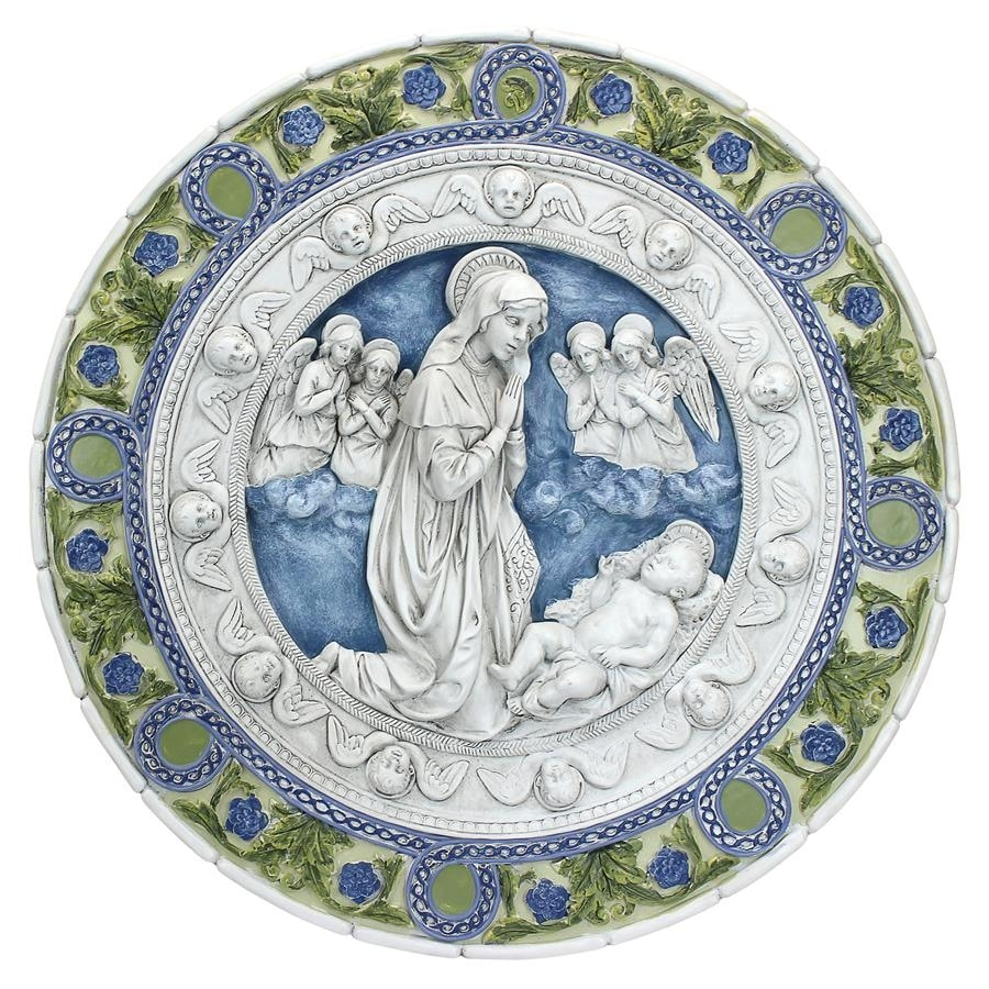 Adoration of the Child Roundel Wall Sculpture, Large DESIGN TOSCANO ...
