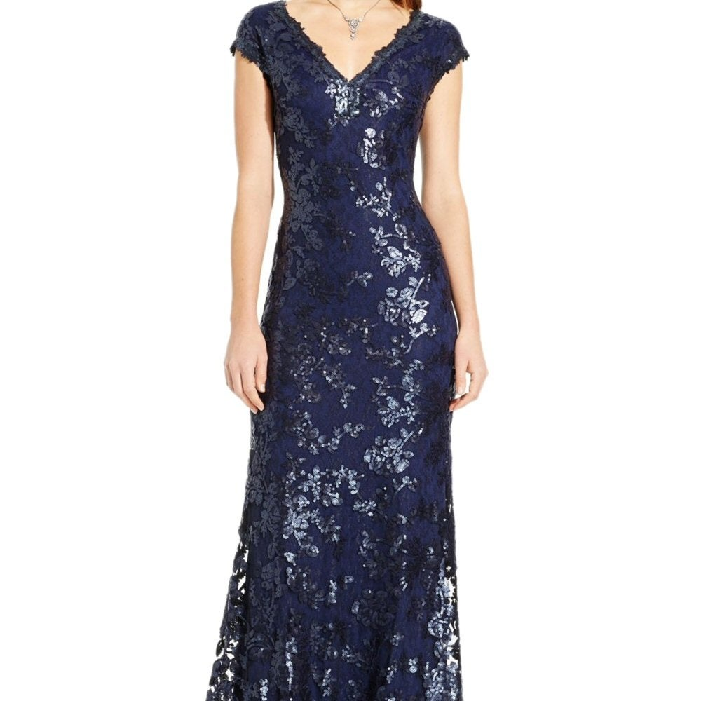 Shop Adrianna Papell Sequin Embellished Cap Sleeve Evening Gown ...