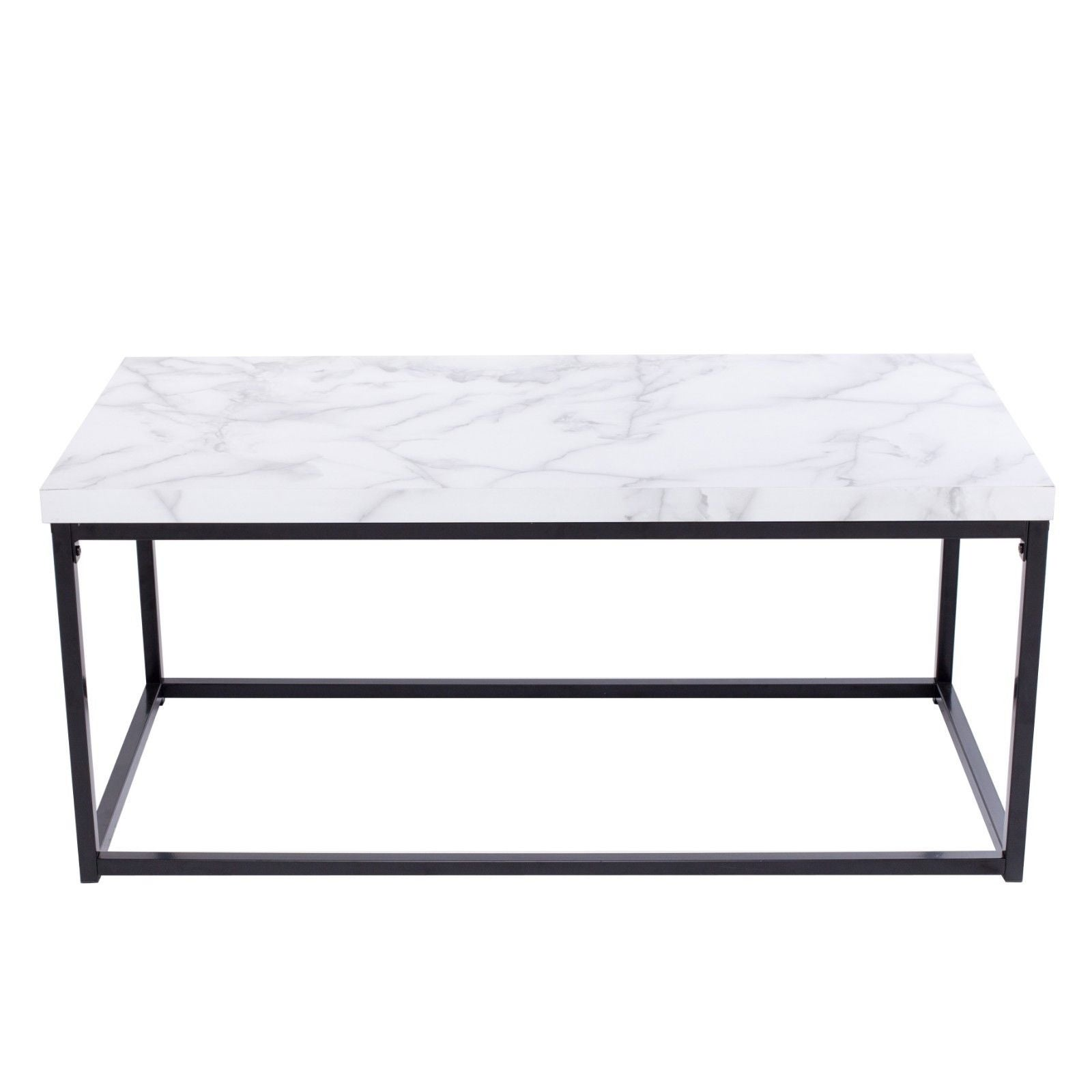 Gymax Modern Rectangular Tail Coffee Table Metal Frame Living Room Furniture Black And Marble Free Shipping Today 22833866