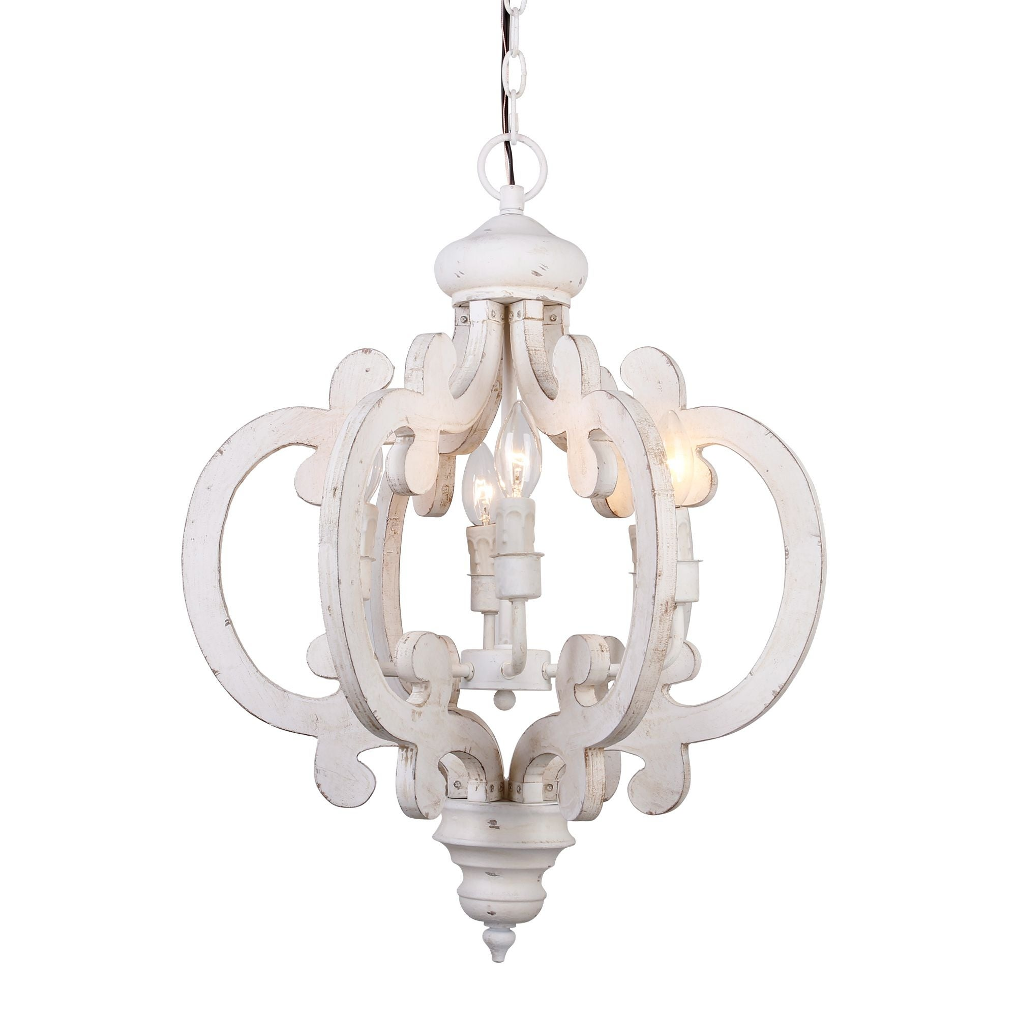 Shop distressed antique white 6 light wood chandelier on sale free shipping today overstock com 19288142