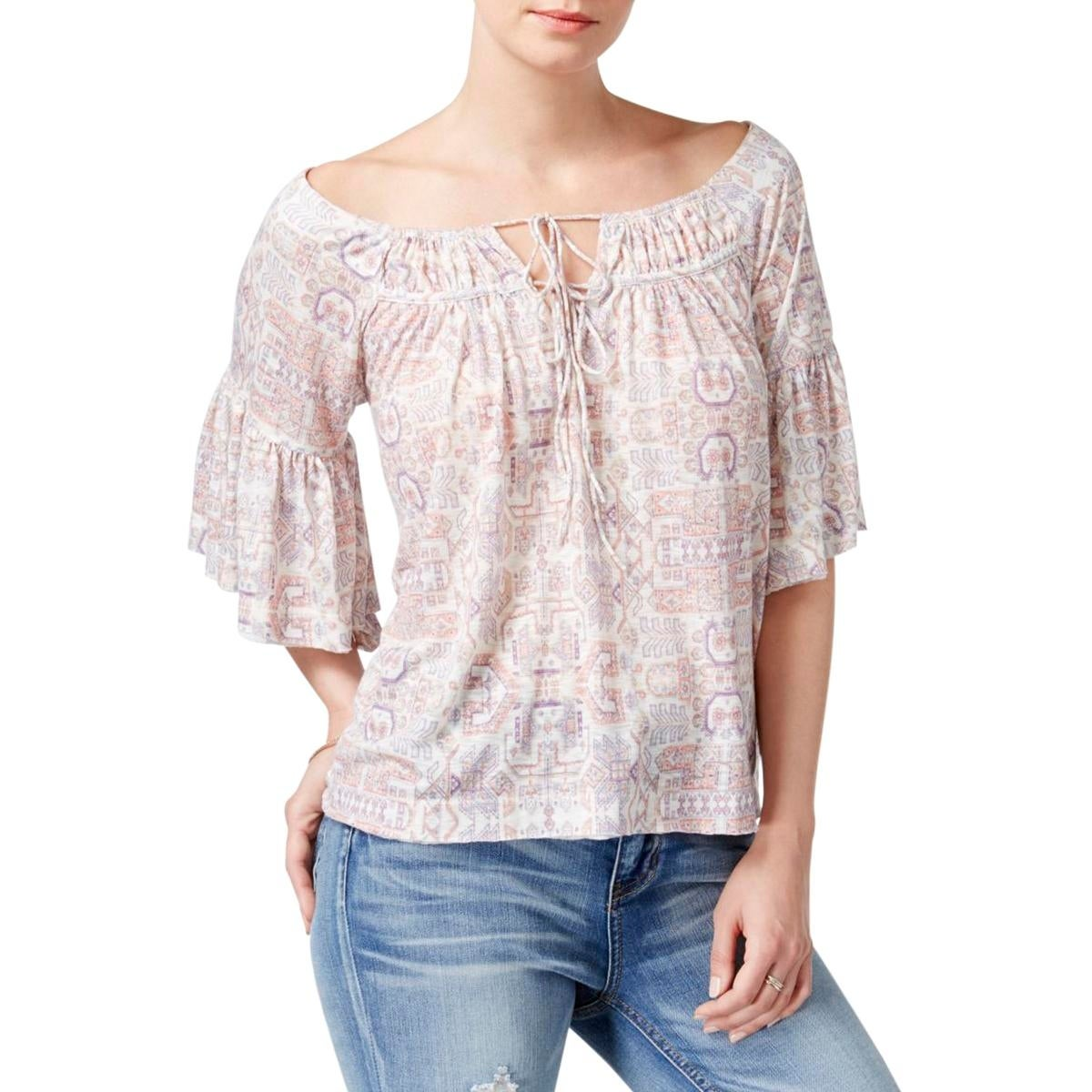 White Off The Shoulder Peasant Blouse Anlis