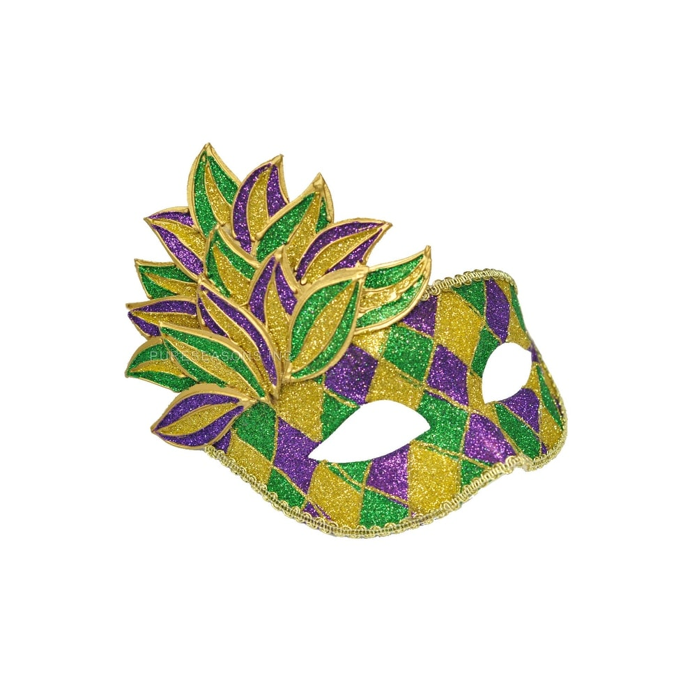 c3d18a38 Shop Pure Seasons Mardi Gras Leaf Adult Mask - purple/green/gold - Free  Shipping On Orders Over $45 - Overstock - 15422370