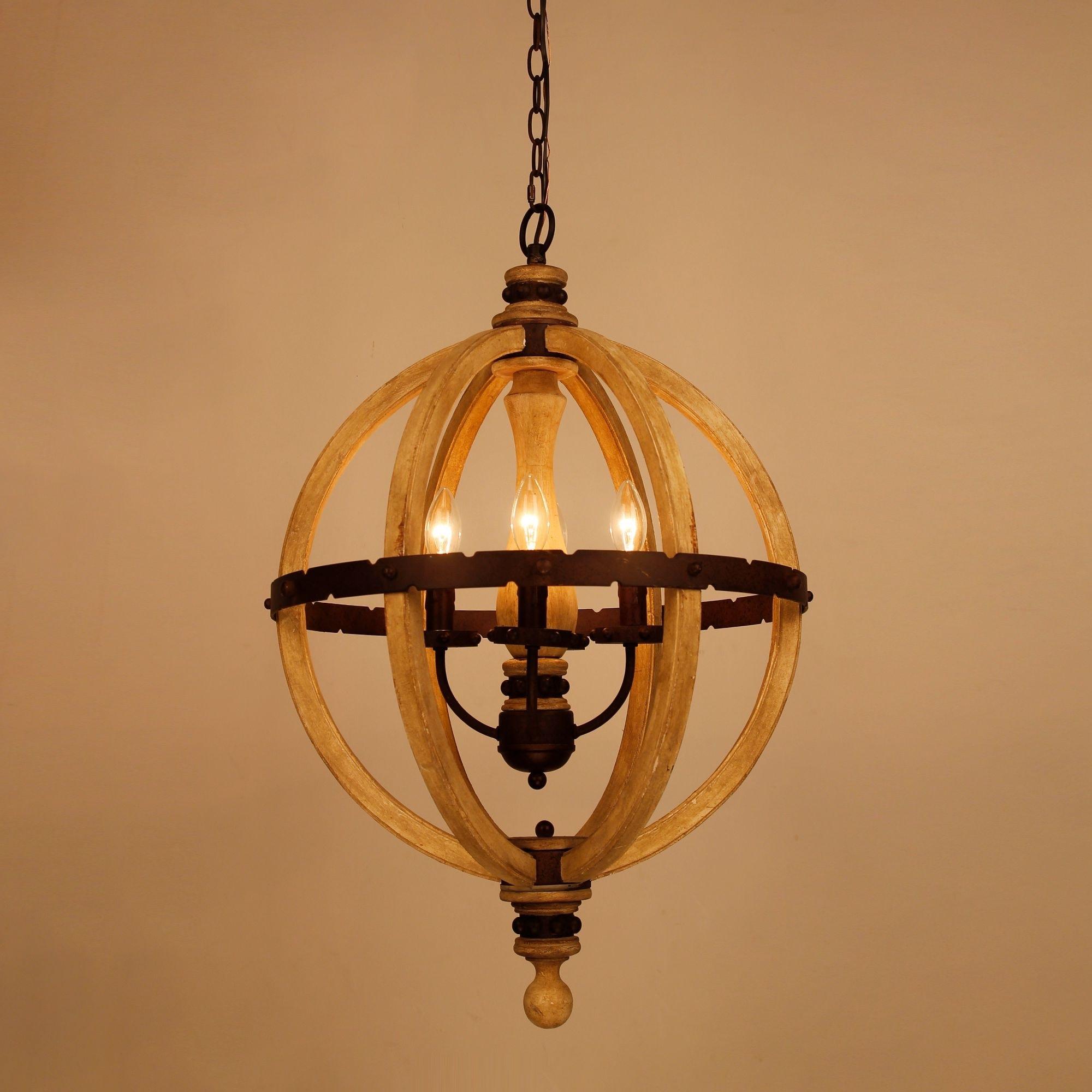 Shop Farmhouse 20-inch 4-Light Distressed Wood Orb Chandelier - Free ...