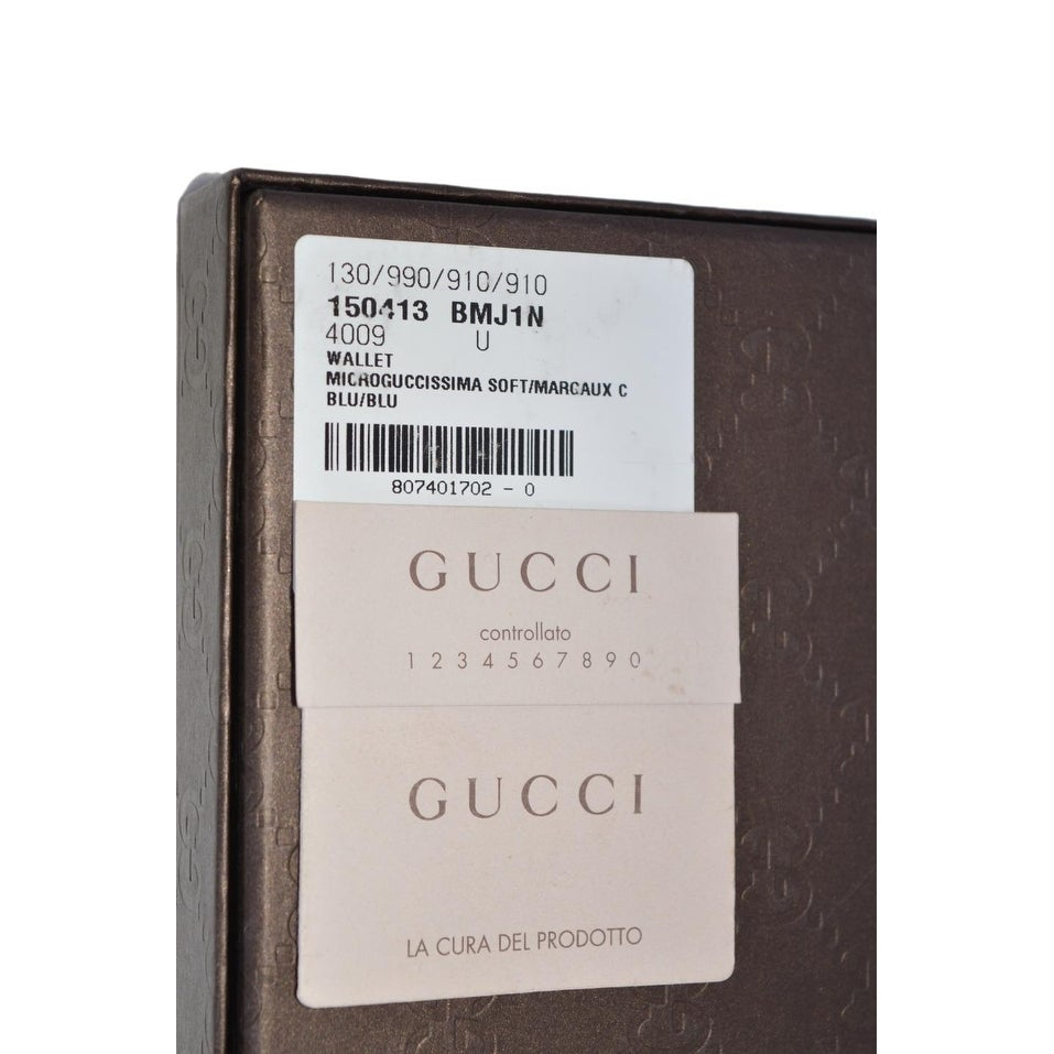 4a153a5a7724 Shop Gucci Men's 150413 Blue Leather Micro GG Guccissima W/Coin Bifold  Wallet - 4.25