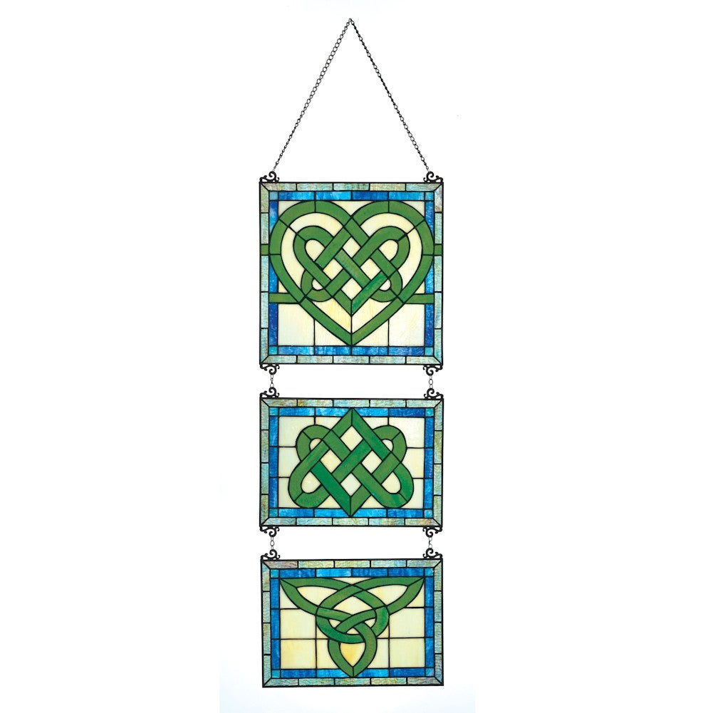 Stained Glass Celtic Knot Hanging Triptych - 3-Piece Wall Decor ...