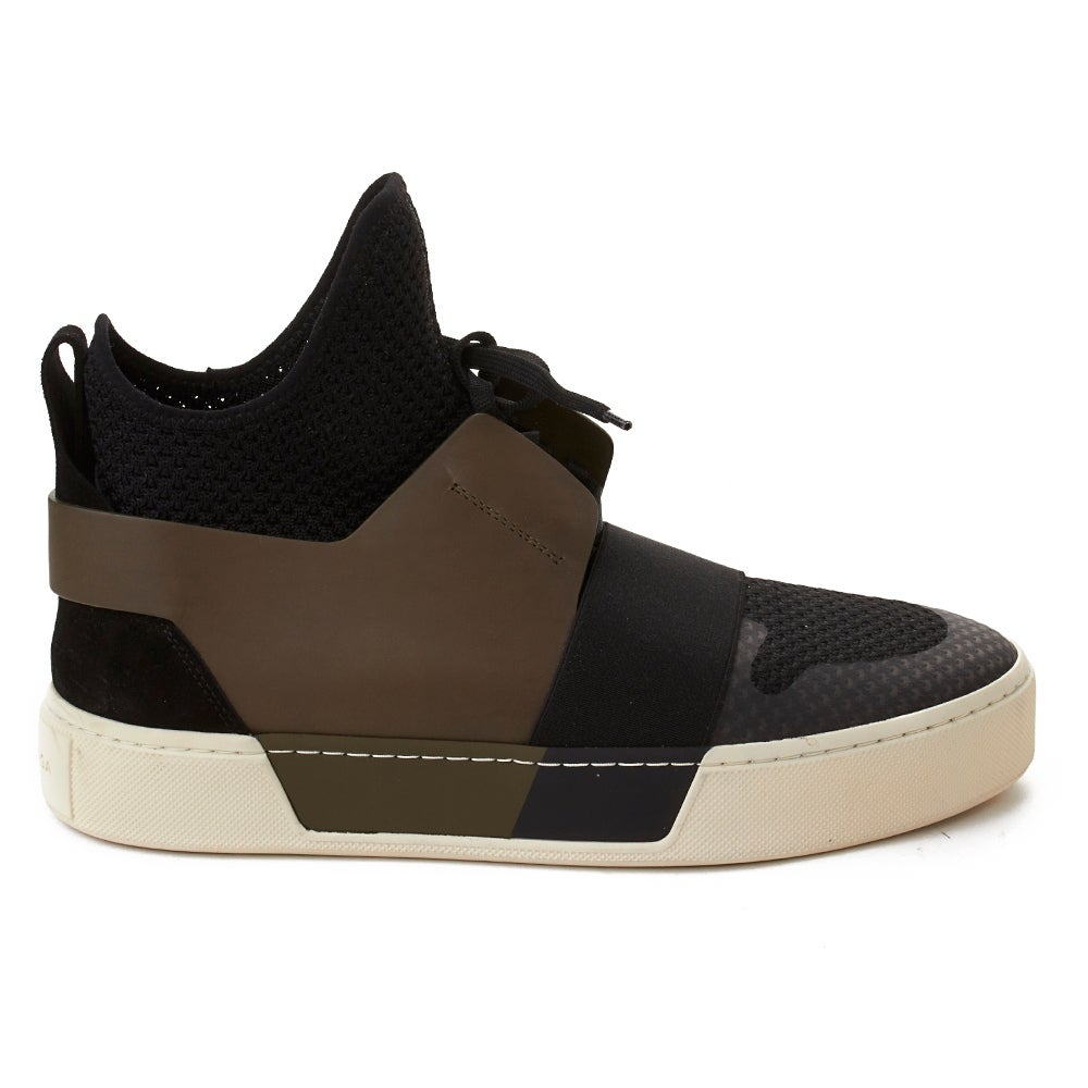 ef91c5db7d5c Shop Balenciaga Men s Elastic Trainer High Top Sneaker Black Olive - Free  Shipping Today - Overstock - 20670621