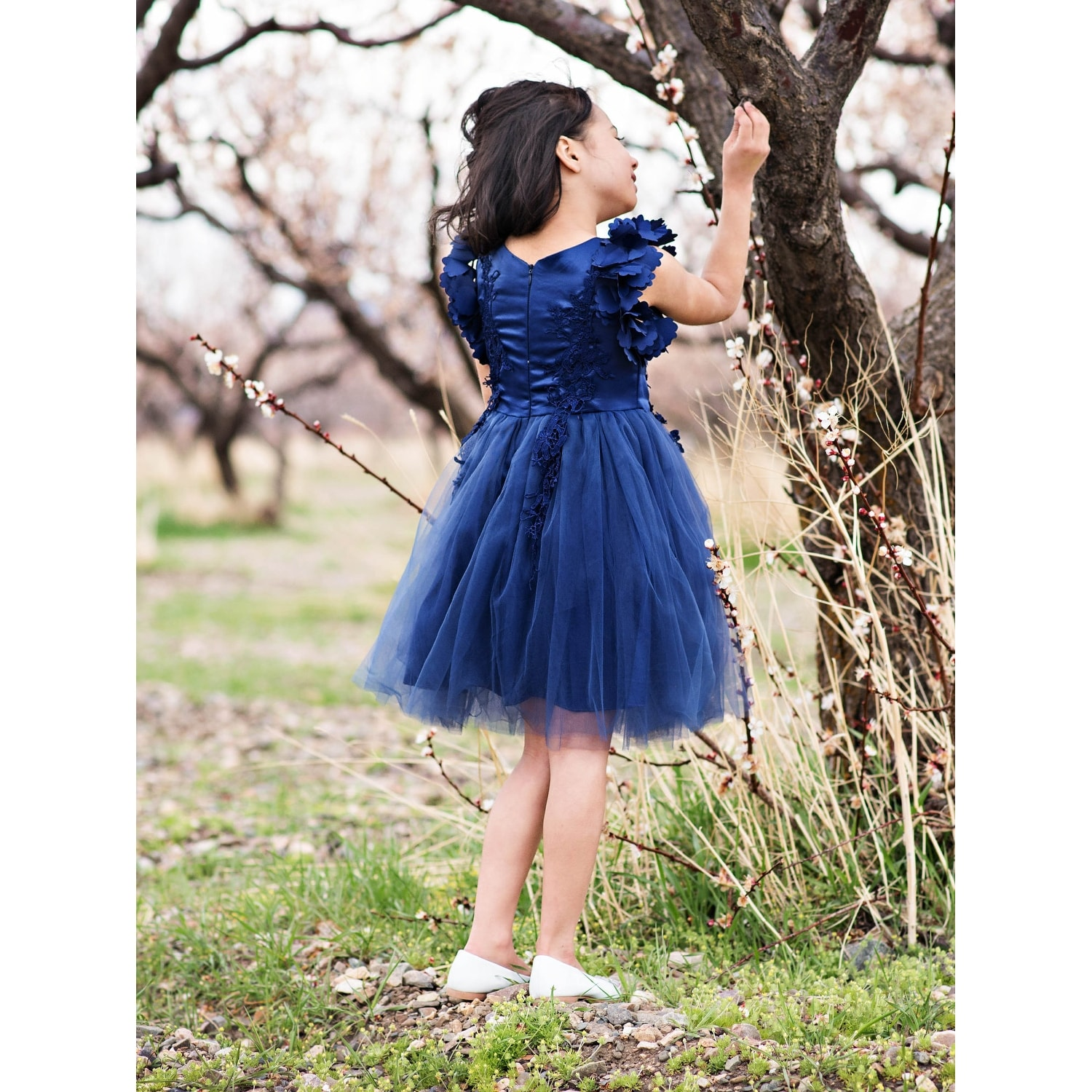 2fa974123ae Shop Just Couture Girls Navy Petal Sleeve Satin Junior Bridesmaid Dress -  Free Shipping Today - Overstock - 23089448