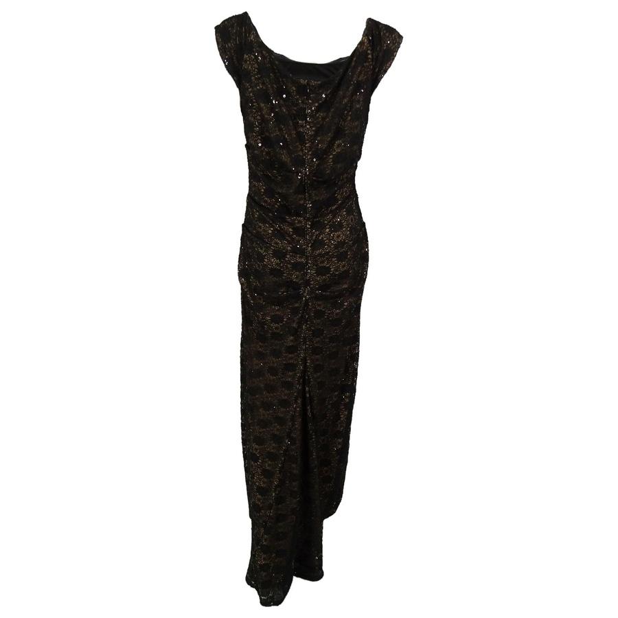 Shop Alex Evenings Women\'s Off The Shoulder Sequined Lace Gown ...