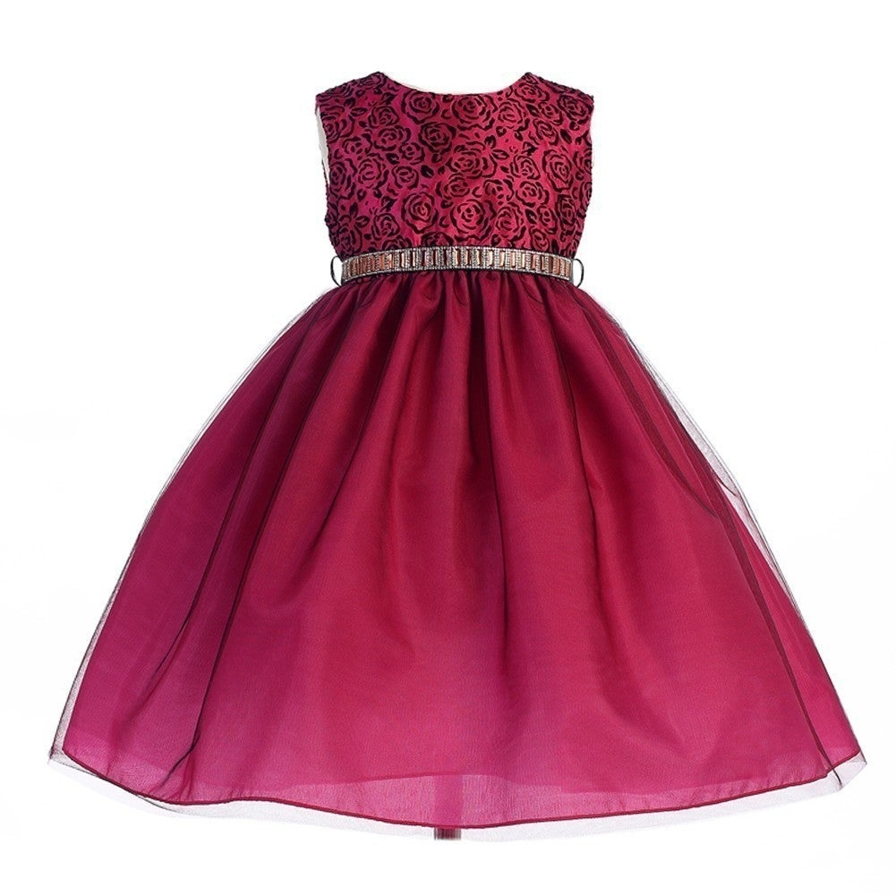 Crayon Kids Girls Fuchsia Black Rose Swirl Pattern Christmas Dress 9 ...