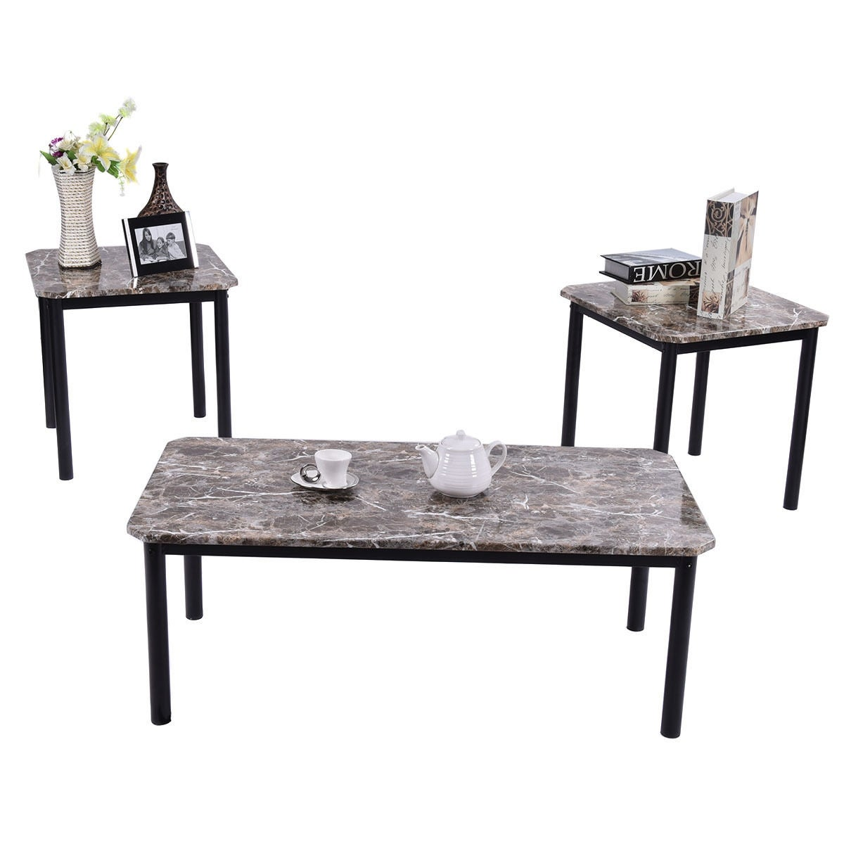 Costway 3 Piece Modern Faux Marble Coffee and End Table Set Living ...