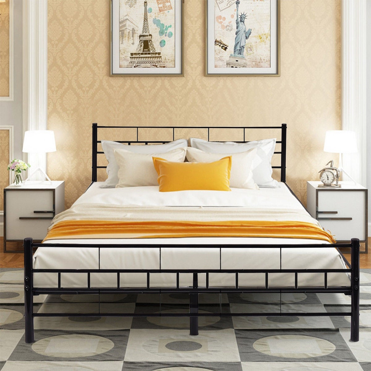 Shop Costway Queen Size Wood Slats Bed Frame Platform Headboard
