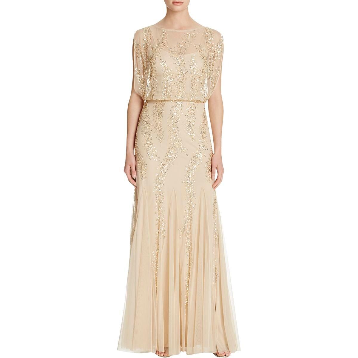 Shop Aidan Mattox Womens Evening Dress Mesh Sequined - Free Shipping ...