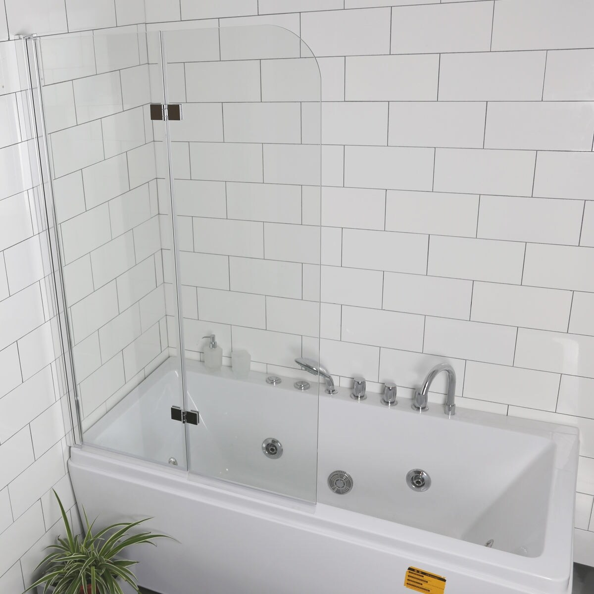 Shop Costway Fold 335x550frameless Hinged Shower Bath Door