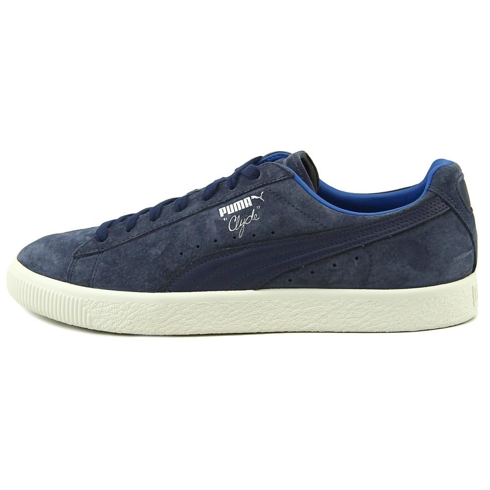 best service 437c5 eb303 Puma Clyde Men Round Toe Suede Blue Sneakers