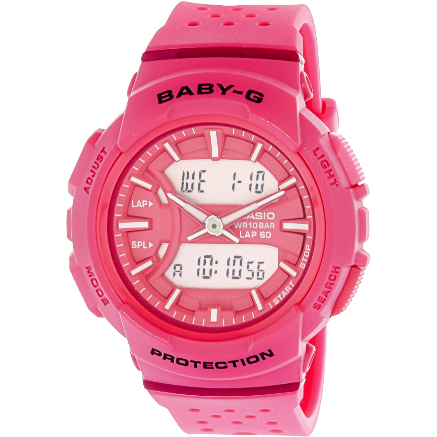 Shop Casio Womens Baby G Pink Resin Japanese Quartz Sport Watch Bga 240l 1a Free Shipping Today 19844152