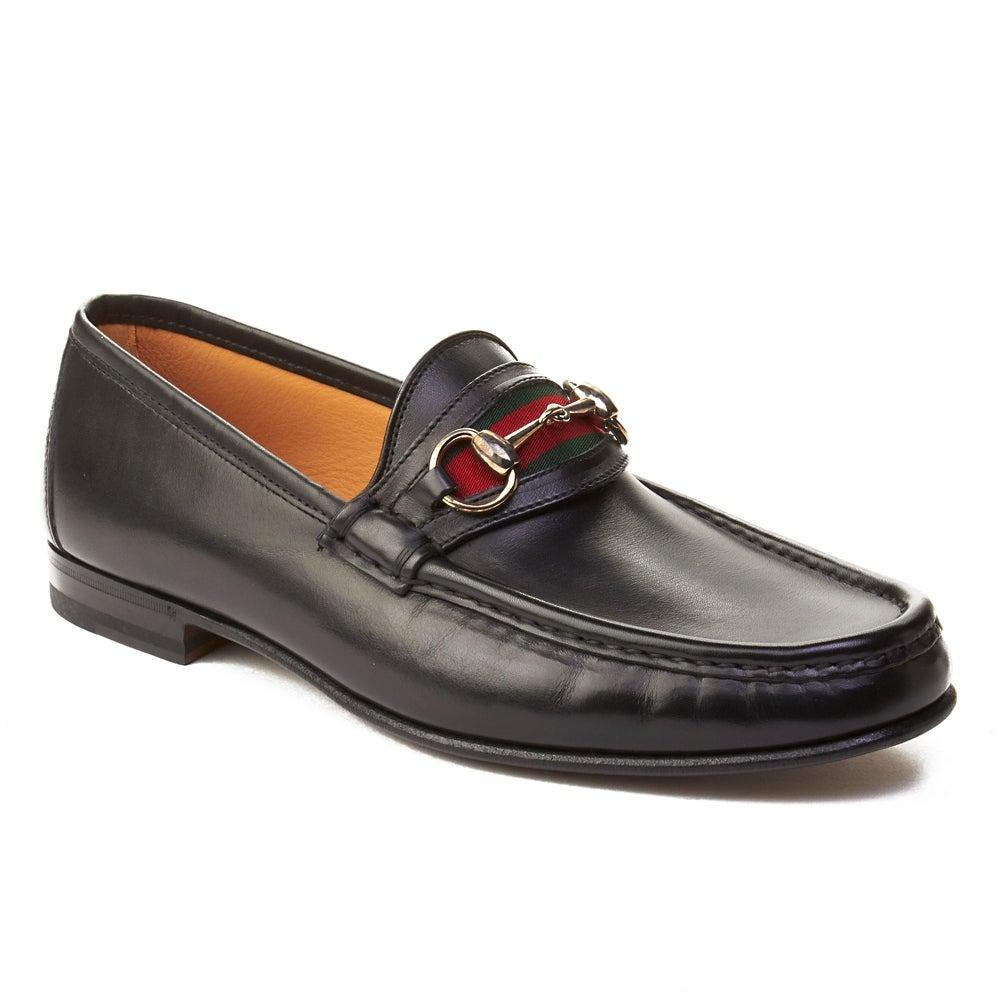 d29842d8d Shop Gucci Men's Leather Horsebit Loafer Shoes Black - Free Shipping ...
