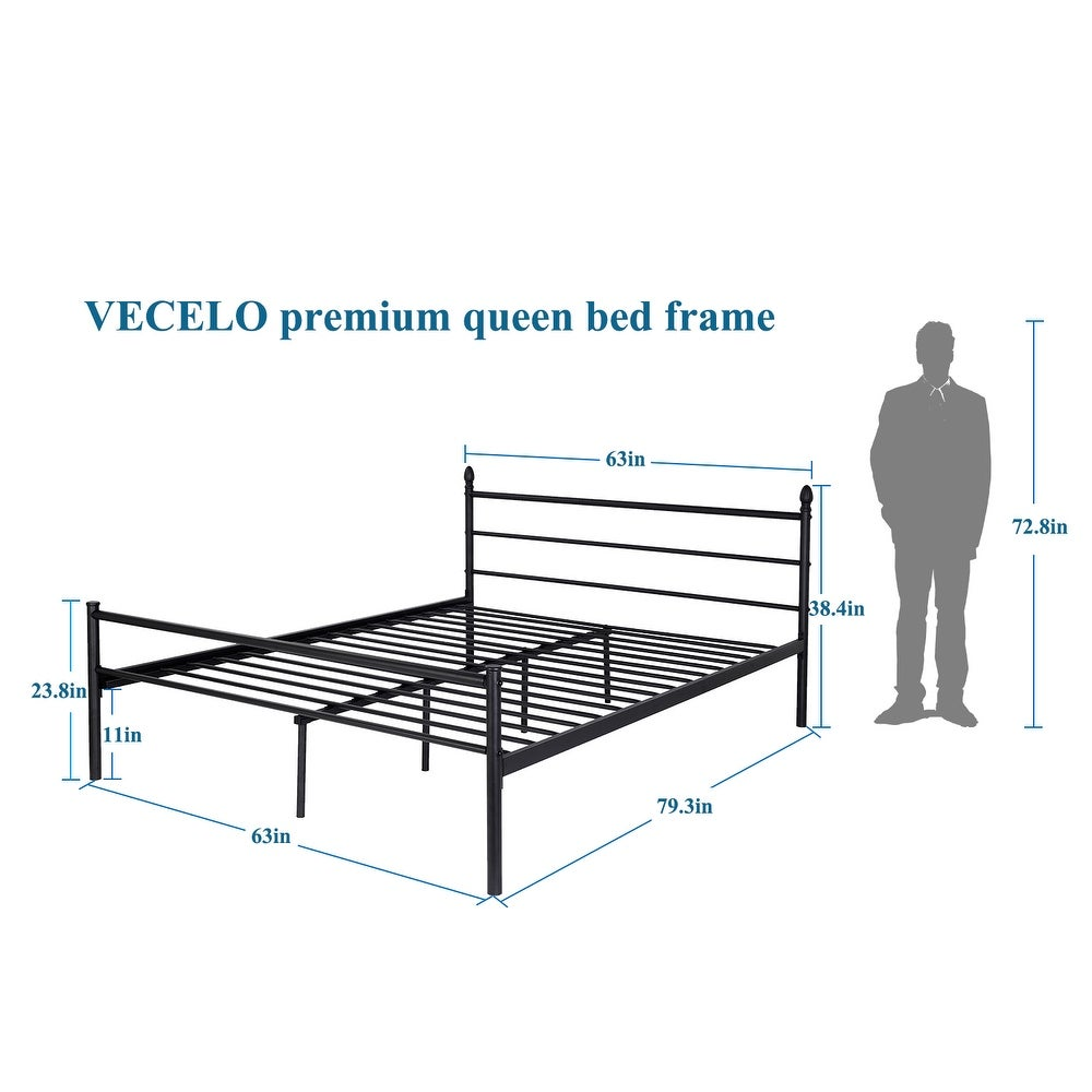 VECELO Queen/Full/Twin-size Platform Bed Frame,Box Spring ...