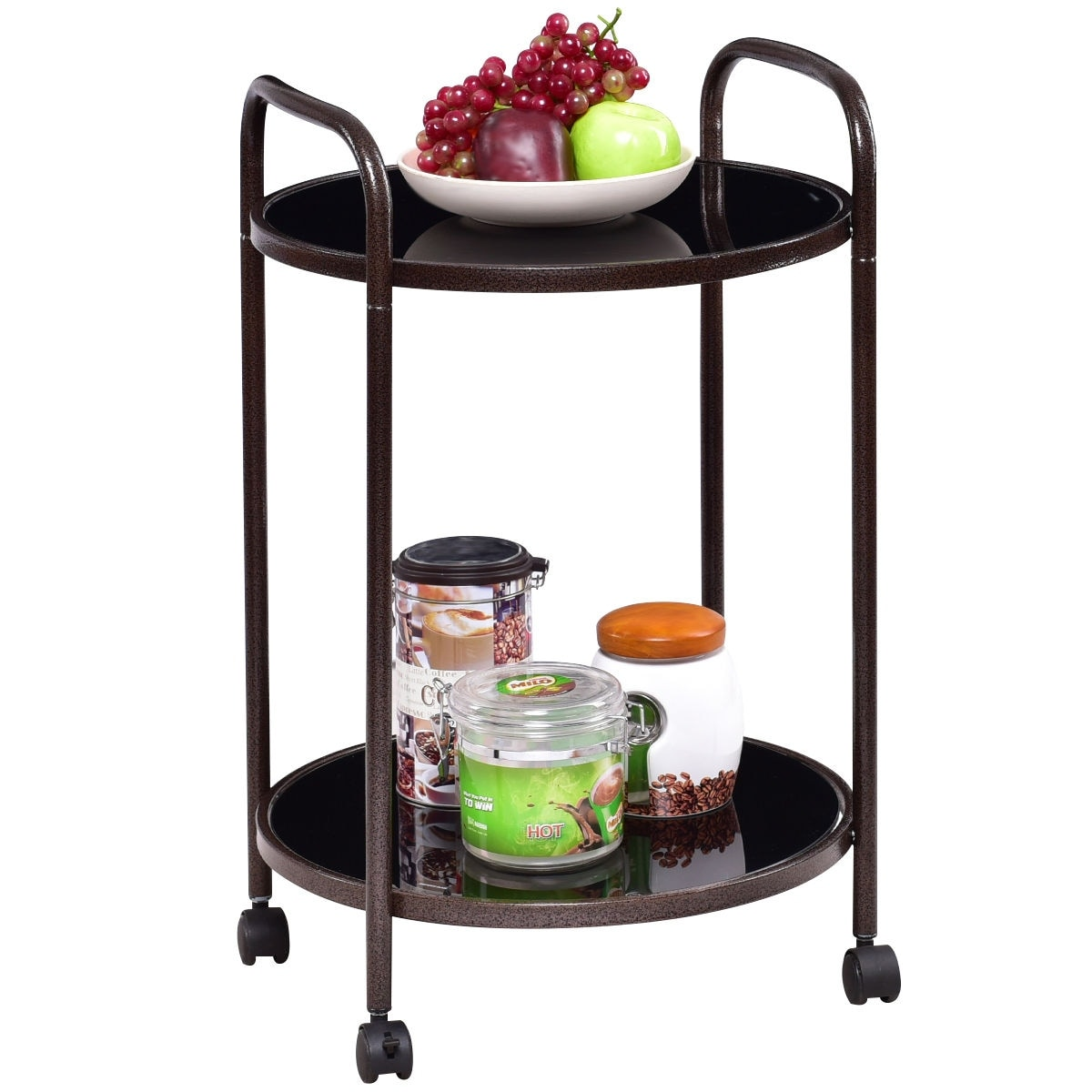 Shop Costway 2-Tier Round Rolling Kitchen Trolley Serving Cart ...