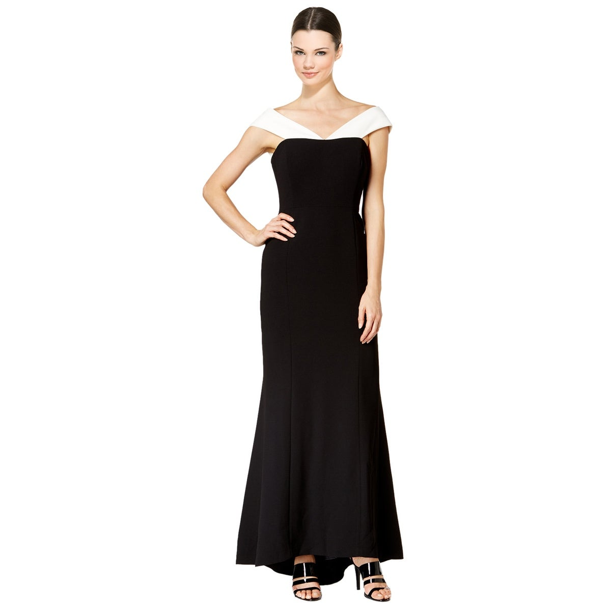 Shop Calvin Klein Two-Tone Crepe Off Shoulder Evening Gown Dress ...