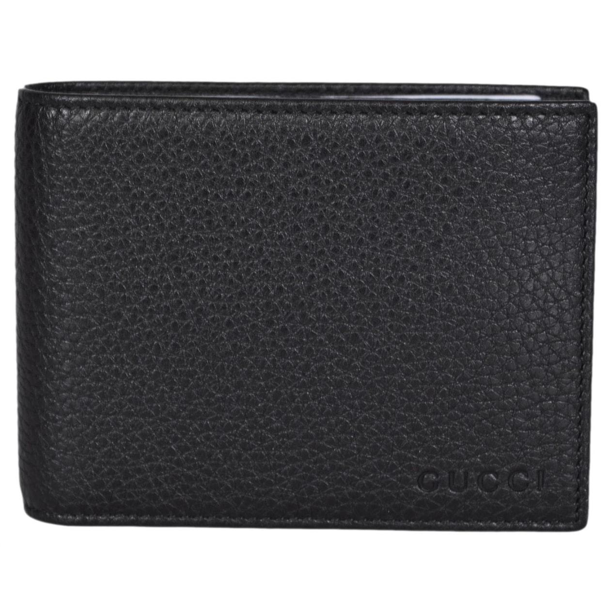 39af25f2332 Gucci Men s 333042 Black Textured Leather Logo Bifold Wallet W Removable ID  - 5