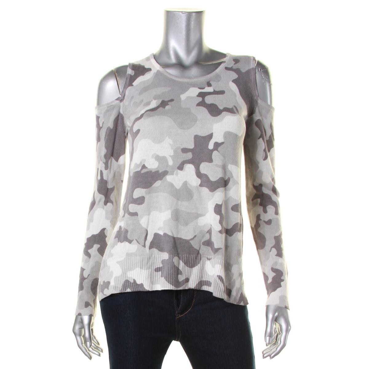 b526c900c19e9 Shop Aqua Womens Sweater Camo Cold Shoulder - Free Shipping On Orders Over   45 - Overstock - 18828797