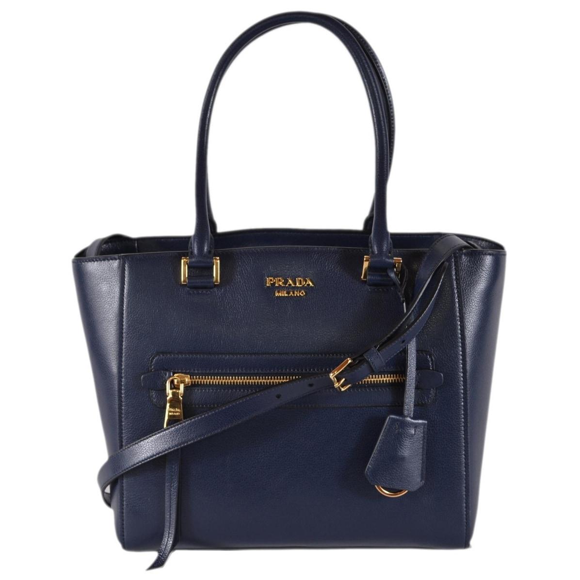 1534cb88bea Shop Prada 1BG227 Baltic Blue Glace Leather Medium Convertible Purse  Handbag Tote - Free Shipping Today - Overstock.com - 26443705