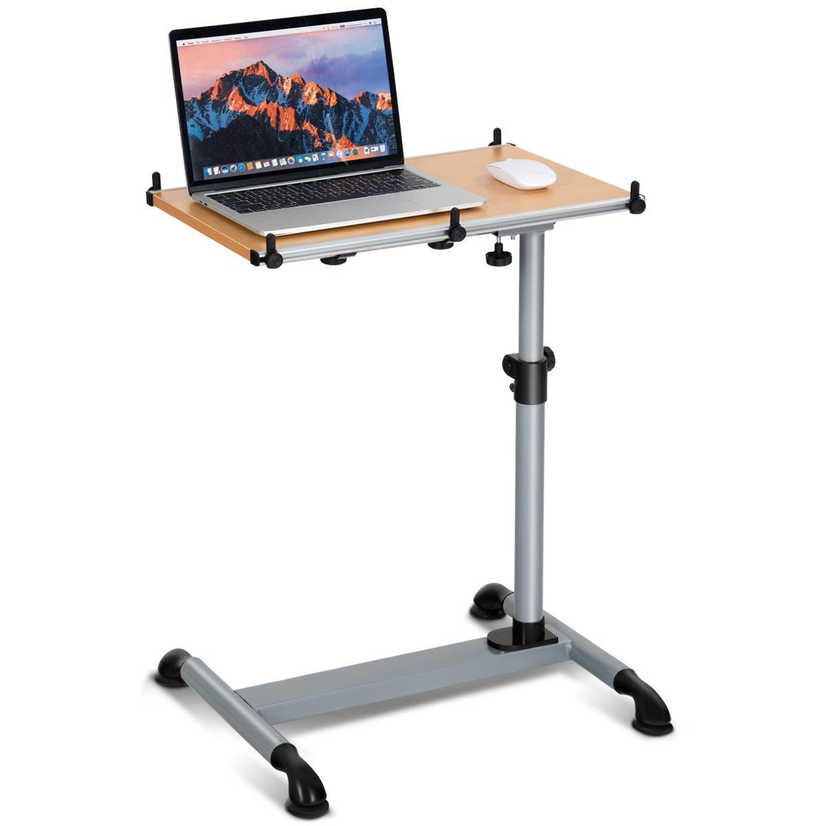 Costway Height Adjule Mobile Laptop Stand Desk Sofa Side Table W Casters New